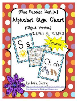 Alphabet Chart Letters & Signs SPANISH {Blue Bubbles Design}