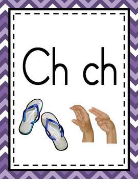 Alphabet Chart Letters & Signs SPANISH {Purple Chevron Design}