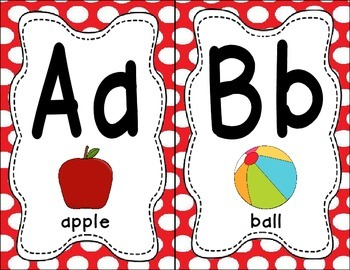 Alphabet Chart - Red Polka Dots