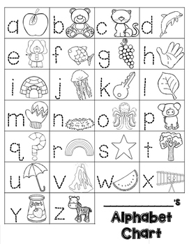 Alphabet Chart: Trace and Draw (BLACKLINE)