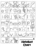 Alphabet Chart: Trace and Draw (BLACKLINE)