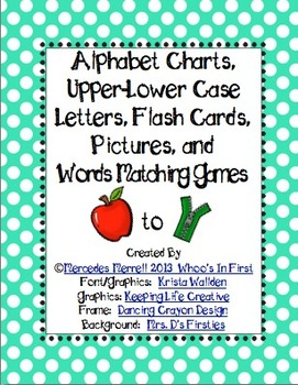 Alphabet Chart, Upper-Lower Case Letter, Picture, & Words Matching Games