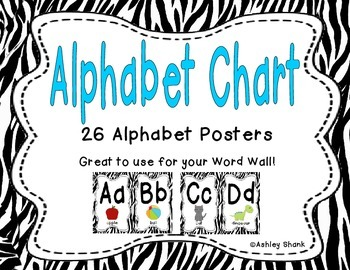 Alphabet Chart - Zebra Print