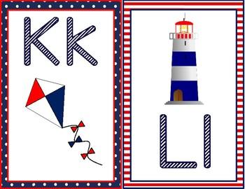 Alphabet Chart or Flashcards Nautical Themed