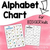 Alphabet Chart with Pictures - Color and B/W