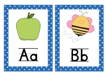 Alphabet Chart with Pictures and text! Blue Polka Dot Border!