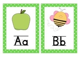 Alphabet Chart with Pictures and text! Green Polka Dot Border!