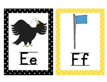 Alphabet Posters with pictures and text! Black and Yellow Polka Dot Border!