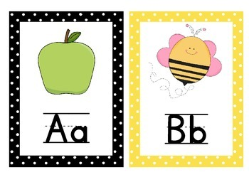 Alphabet Posters with pictures and text! Black and Yellow