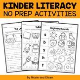 No Prep Literacy - Kindergarten Activities