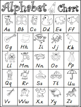 Inventive image within printable alphabet chart black and white