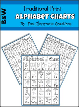 Alphabet Charts - Black and White, Traditional Print