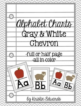 Alphabet Charts: Gray & White Chevron