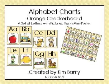 Alphabet Charts - Orange Checkerboard