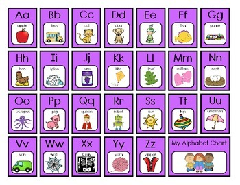 Alphabet Charts - Purple Checkerboard