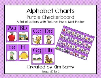 Alphabet Charts - Purple Checkerboard