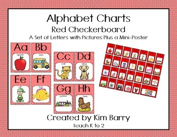 Alphabet Charts - Red Checkerboard