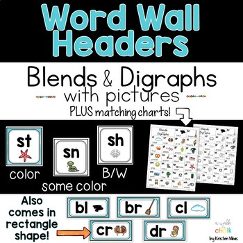 Alphabet Charts & Word Wall Headers (Blue)