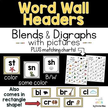 Alphabet Charts & Word Wall Headers (Yellow)