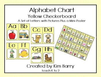 Alphabet Charts - Yellow Checkerboard