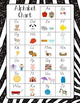 Alphabet Charts {chevron, polka dot, zebra} D'Nealian with Pictures