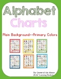 Alphabet Charts with Pictures---Plain Background Primary Colors