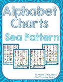 Alphabet Charts with Pictures---Sea Patterns Background