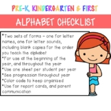 Alphabet Checklist - sounds and letter names