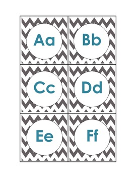 Alphabet - Chevron - Grey/Blue