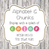 Alphabet & Chunks in  Shiplap with Bright Color Accents