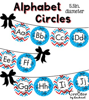 Alphabet Circle Banner Upper and Lower Case Red Blue Rhyming Cat