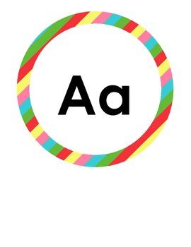 Alphabet Circles Bright Stripes 6.75 in Print