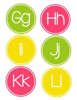 Alphabet Circles - Lime, Pink, & Yellow
