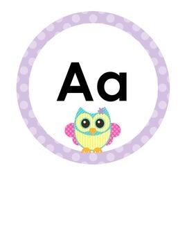 Alphabet Circles Pastel Owl in Print