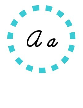 Alphabet Circles Turquoise Carnival in Cursive