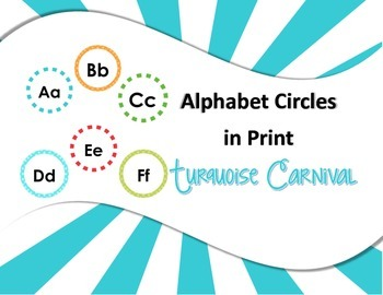 Alphabet Circles Turquoise Carnival in Print