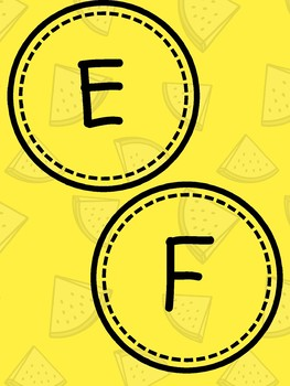 Alphabet Circles for Word Wall Yellow Watermelon Style