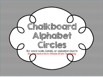 Alphabet Circles on Chalkboard with Picture and Letters