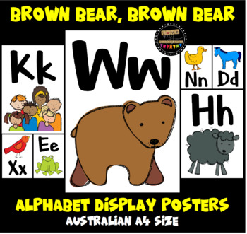 ALPHABET CLASSROOM POSTERS (Aa to Zz) - Brown Bear Brown Bear Theme - A4, 26pgs