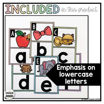 Alphabet Classroom Posters: Pastel Rainbow Gradient