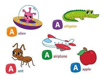 Alphabet Clipart Bundle A to M, Alphabet Picture Clip Art