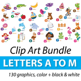 Alphabet Clipart Bundle A to M, Alphabet Picture Clip Art