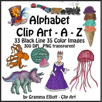 Alphabet Clip Art ABC Words A to Z in Color and Black LIne