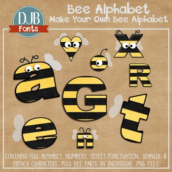 Alphabet Clip Art: Bee Alphabet Letters