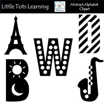 Black and White Alphabet Clip Art - Alphabet Clip Art - Commercial Use