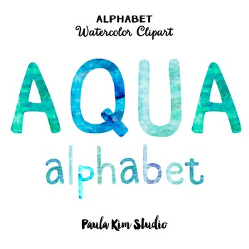 Alphabet Clip Art - Aqua Watercolor