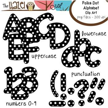 Alphabet Clip Art: Black Polka Dot Print - Uppercase, Lowercase, & Punctuation
