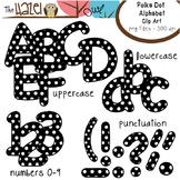 Alphabet Clip Art: Black Polka Dot Print - Uppercase, Lowe