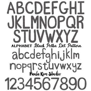 Alphabet Clip Art - Black Polka Dots