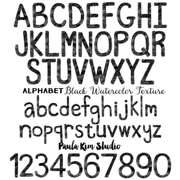 Alphabet Clip Art - Black Watercolor